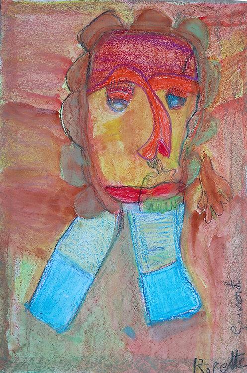 Rozette Goovaerts - oranje portret op rood