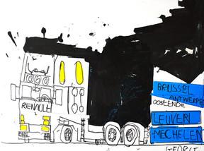 camion renault met wegwijzers