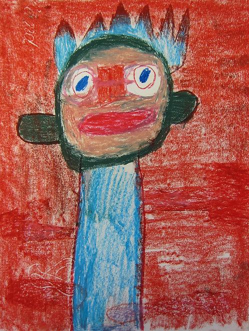 Martine Thielens - blauwe figuur op rood