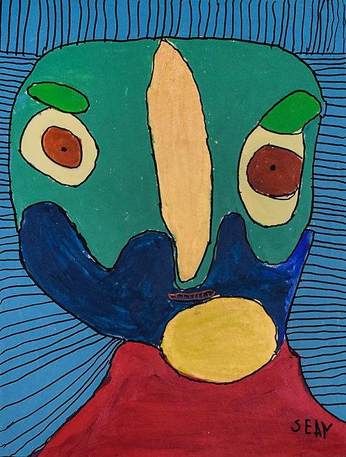 Sylvain Serneels - kleurrijk portret op blauw gestreept
