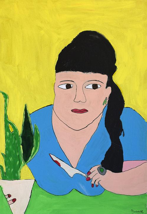 Yvonne Backs - Vrouw met mes en plant