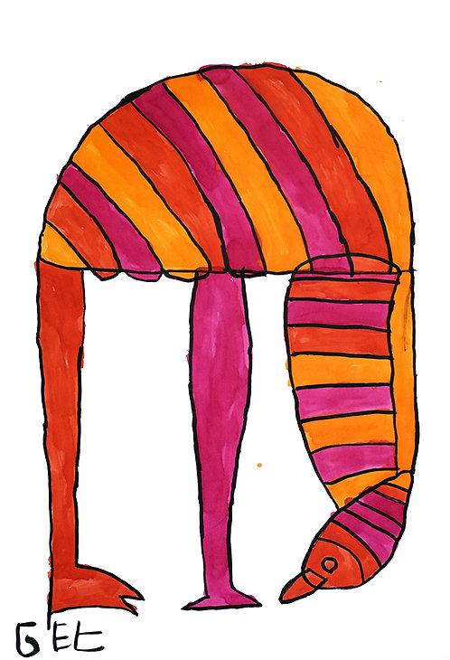 Jef Cloostermans - struisvogel in oranje en roze