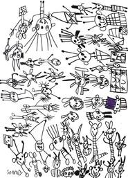 figuren in alle richtingen met paars hoedje