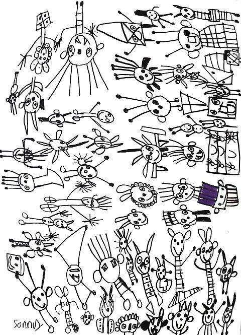 Sonny Perez - figuren in alle richtingen met paars hoedje