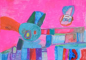 twee figuren op roze achtergrond