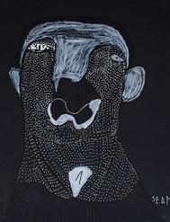 zwart wit portret met stipjes