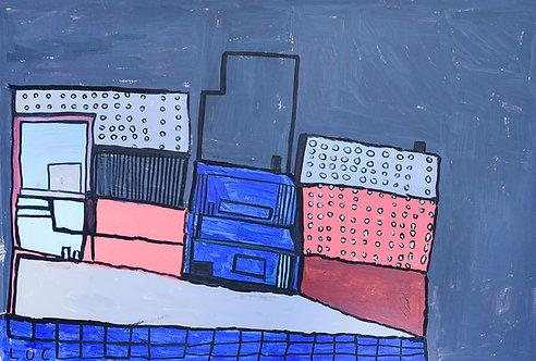Luc Van Muylder - blauw en roos gebouw met ronde ramen