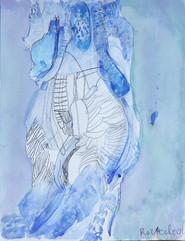 figuur op blauwe achtergrond