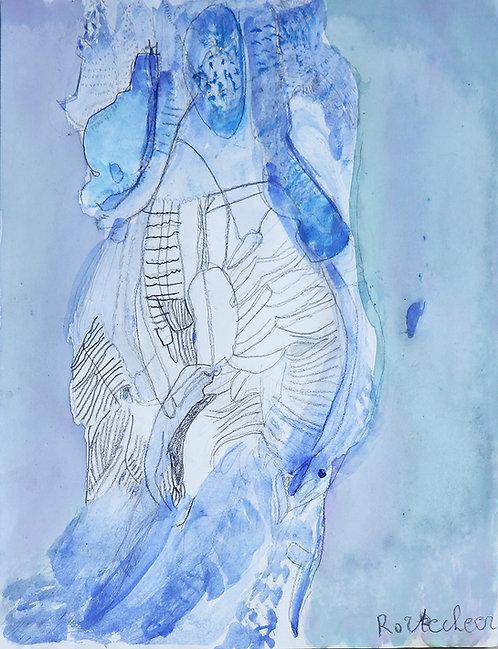 Rozette Goovaerts - figuur op blauwe achtergrond
