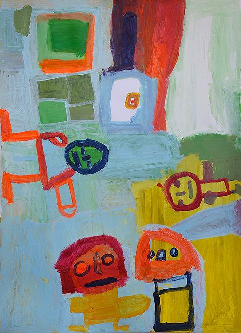 Martine Thielens - figuren op lichtblauw, groen en geel