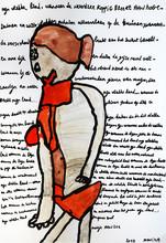 vrouw met rode lingerie op tekst