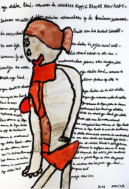Monica Laroche - vrouw met rode lingerie, tekst