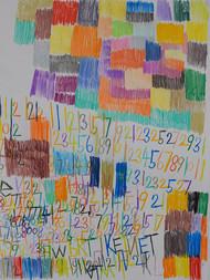 vlakken, cijfers en letters in kleur