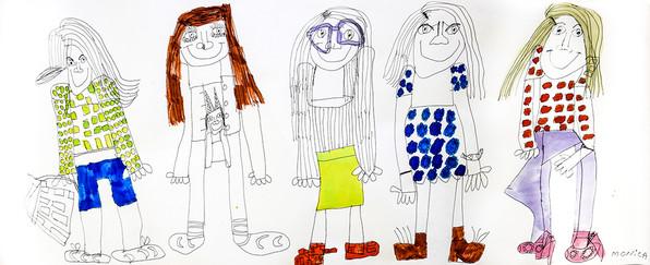 vijf meisjes