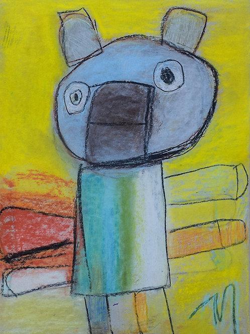 Martine Thielens - Poes met 6 poten op geel