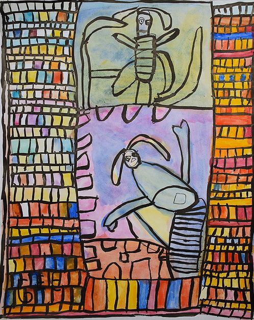Jef Cloostermans - twee dieren omringd door vakjes