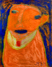 oranje figuur met donkerblauwe achtergrond