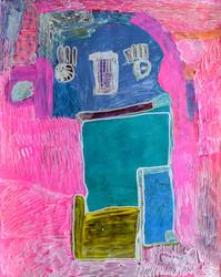 blauwe figuur op roze achtergrond