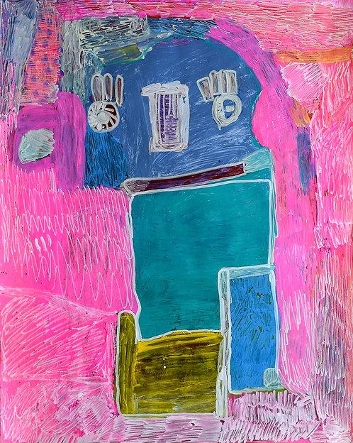 Martine Thielens - blauwe figuur op roze