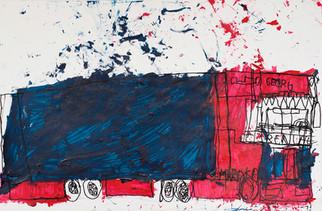 rood met blauwe vrachtwagen