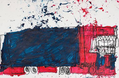 Georg Verstrepen - rood met blauwe vrachtwagen