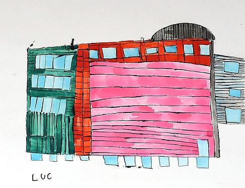 Luc Van Muylder - groen en roos gebouw