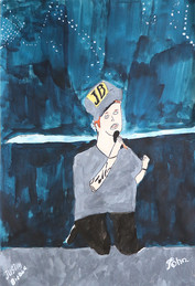 Justin Bieber zingt knielend