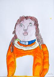 jonge vrouw met oranje trui
