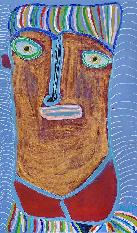 Sylvain Serneels - goud portret met lang hoofd