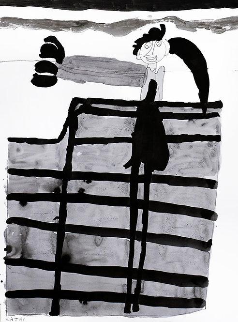 Kathy De Decker - meisje aan een hek