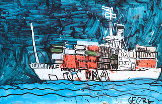 CMA containerschip in donkere lucht
