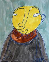 portret met geel gezicht