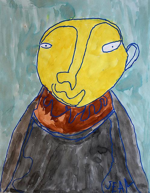 Sylvain Serneels - portret met geel gezicht
