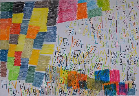Wytze Hingst - vlakken, cijfers en letters in kleur