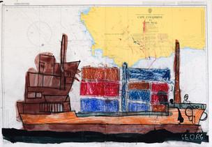 containerschip op landkaart