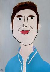 Sam Gooris in lichtblauw hemd met geruitte kraag