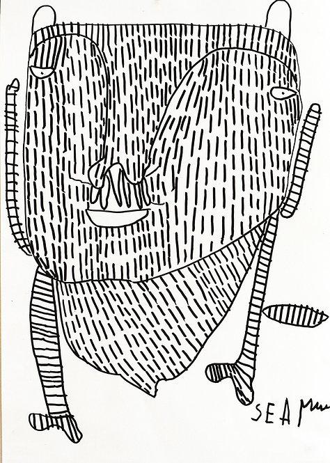 Sylvain Serneels - Figuur in zwart gevuld met strepen