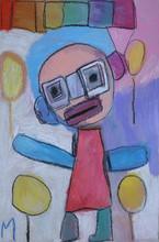 kleurrijke clown met balonnen