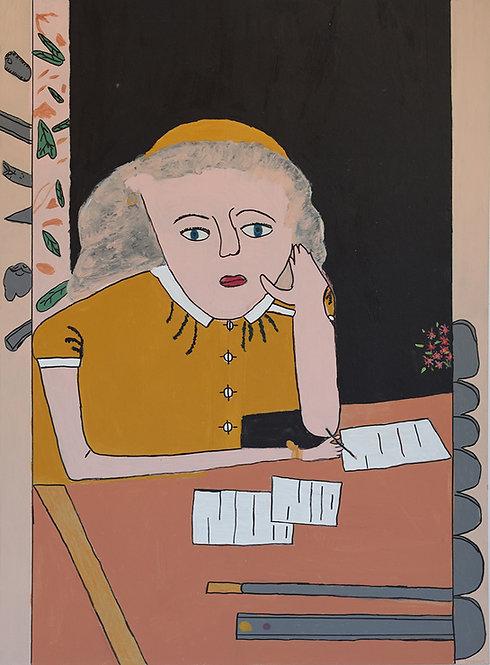 Yvonne Backs - Vrouw leunend op ellenboog