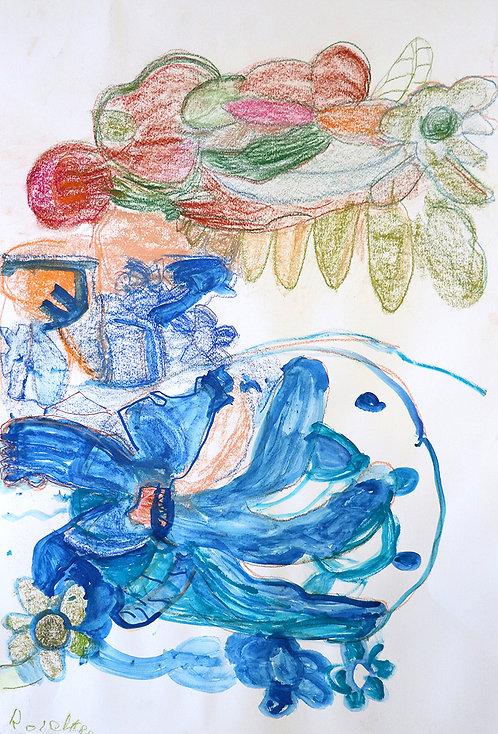 Rozette Goovaerts - blauwe en groene bloemen