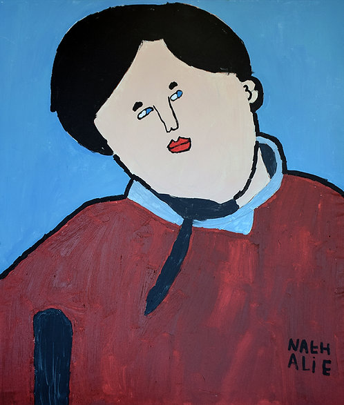 Nathalie Lannoo - zoon met bordeaux trui