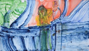 twee mensen op een blauwe zee