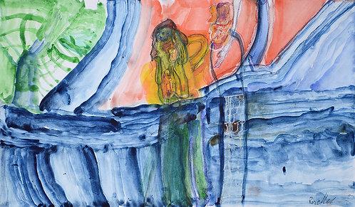 Rozette Goovaerts - twee mensen op een blauwe zee