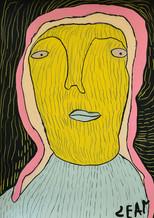 geel portret met roze haar