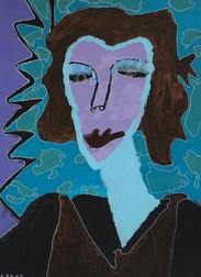 portret van een paarse vrouw