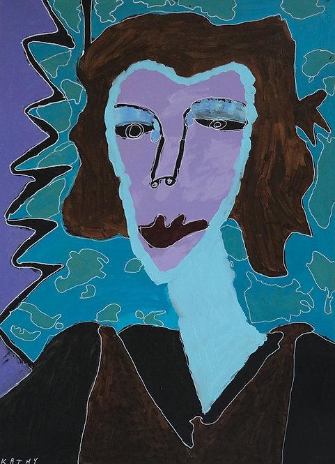 Kathy De Decker - paars portret van een vrouw