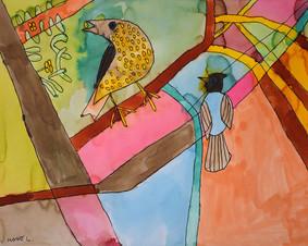 vogels in een kleurrijk decor