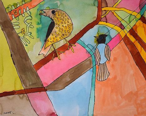 Hans Cortebeeck - vogels in een kleurrijk decor