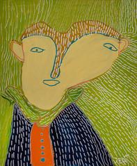 portret op groene achtergrond