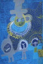 grijs en gele figuren op blauw en geel